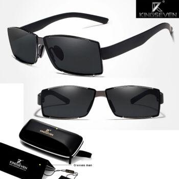 polarizált szögletes napszemüveg, szürke-fekete kerettel