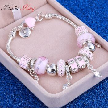 nemesacél pink charm karkötő muranoi üveggel