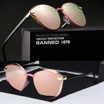 BANNED 1976 ultravagány tükörlencsés női luxus napszemüveg, polarizált, rózsaszín lencsével