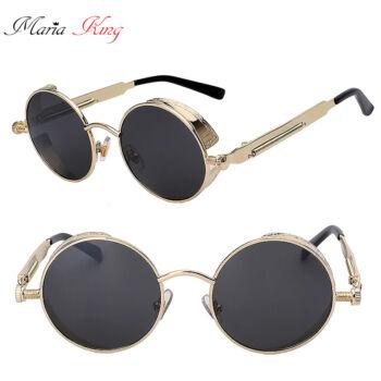 Kerek lencséjű fémkeretes uniszex napszemüveg, arany-fekete