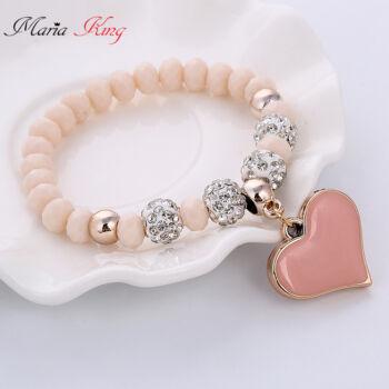 Kristálygömbökkel díszített Shambhala gyöngy karkötő szívvel, pink