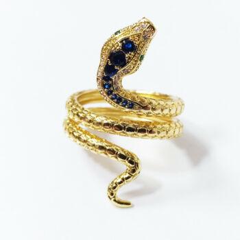 Retró színes kristályos kígyó gyűrű, több méretben