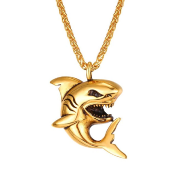 Brutálmenő nemesacél vicsorgó cápa medál vastag nyaklánccal - arany színben