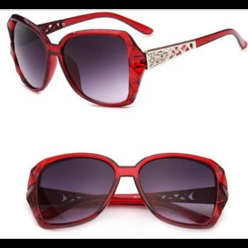 Nagylencsés vintage női napszemüveg, bordó