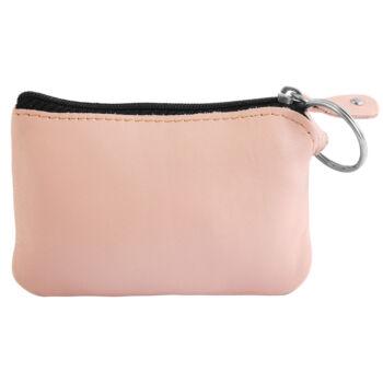 Excellanc valódi bőr érmetartó tárca, 12x8 cm - pink