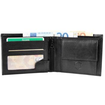 Valódi bőr uniszex pénztárca, fekete, Excellanc