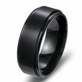 Nemesacél karikagyűrű több méretben, fekete 8