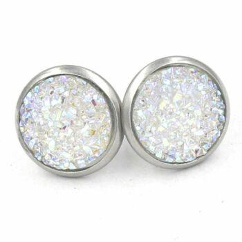 Nemesacél fülbevaló kristályokkal kirakva, fehér - 1,4 cm