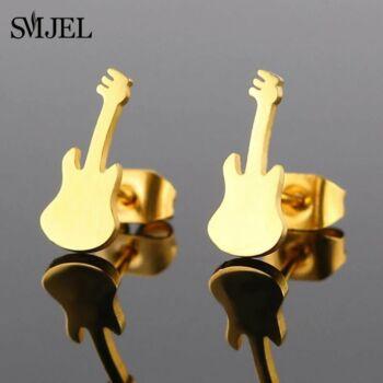 Nemesacél gitár beszúrós fülbevaló, arany színű