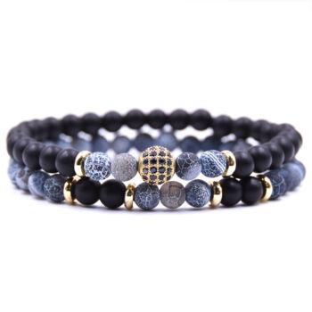Természetes kő dupla karkötő fekete-kék, 19 cm, rugalmas