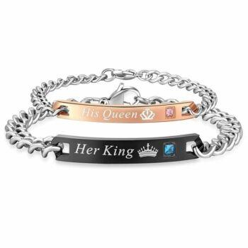 His Queen-Her King minőségi karkötő, 2 db, pároknak