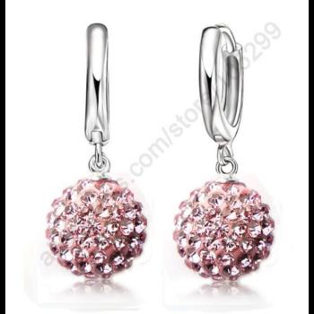 kristálygömb fülbevaló, rózsaszín