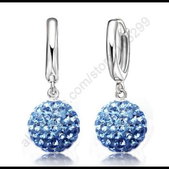 kristálygömb fülbevaló, kék