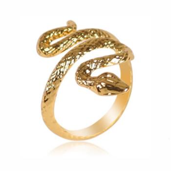 Retró arany színű kígyó állítható méretű gyűrű