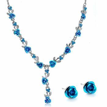 Rózsa motívumos vintage nyaklánc és fülbevaló szett, kék