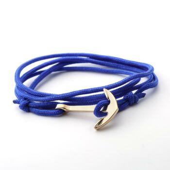 Szövet és fémötvözet vasmacska díszes karkötő, kék