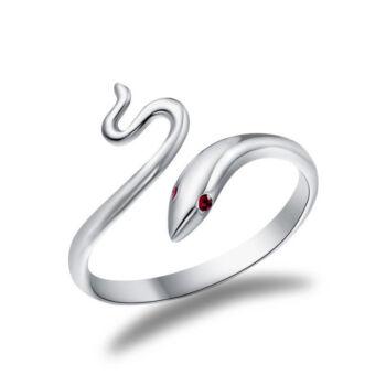 Piros szemű kígyós állítható méretű gyűrű