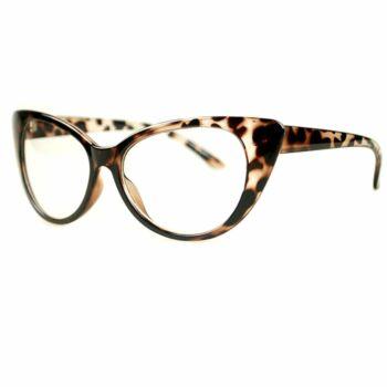 Átlátszó lencsés, cicás divat szemüveg, leopárd 2.
