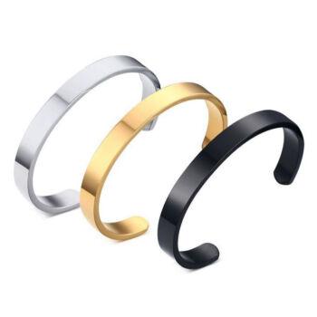 Nemesacél nyitott karperec, arany, ezüst és fekete, átmérő 5,9 cm