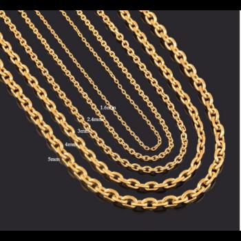 Hosszú (86 cm) 316L nemesacél nyaklánc, arany színű