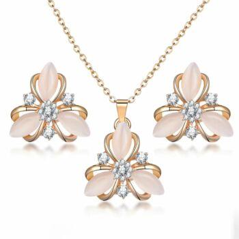 Mesterséges opál medál és fülbevaló szett, arany színű