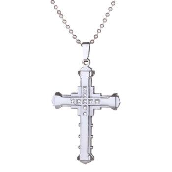 Kereszt medál nemesacél nyaklánccal, ezüst színű