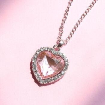 Rózsaszín szív kristályos Óceán szíve medál nyaklánccal