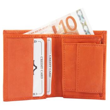 Valódi bőr uniszex mini pénztárca, narancs