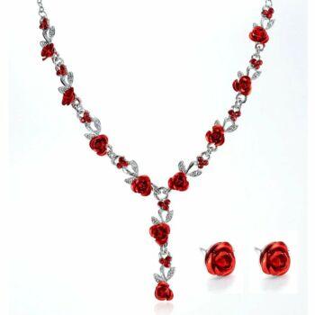 Rózsa motívumos vintage nyaklánc és fülbevaló szett, piros