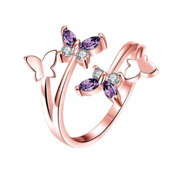 Pillangómotívumos aranyozott állítható méretű gyűrű lila cirkóniummal