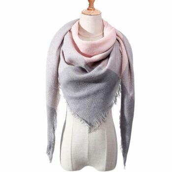 szürke-pink téli-őszi sál