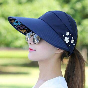 Hátul nyitott óriási napellenzős tépőzáras nyári sapka, kék