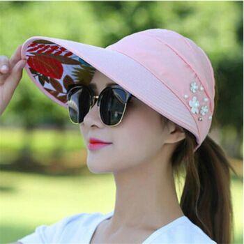 Hátul nyitott óriási napellenzős tépőzáras nyári sapka, pink