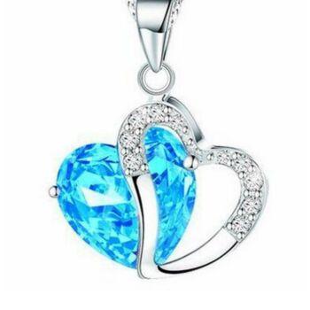 Kristály szív nyaklánc, kék