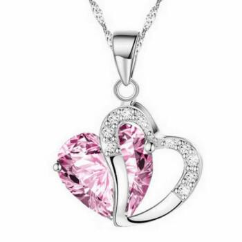 Kristály szív nyaklánc, pink