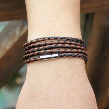 Retro barna-fekete fonott bőr karkötő, 20 cm
