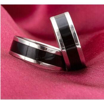 Ezüst - fekete karikagyűrű, 10