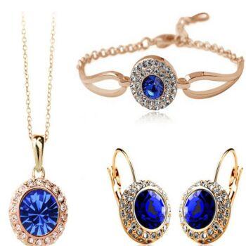 From Maria King kristályos arany-kék nyaklánc, karkötő és fülbevaló szett