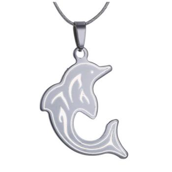 Fekete delfines medál bőr nyaklánccal