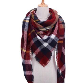 Kasmír jellegű piros-kék-fehér kockás téli-őszi sál