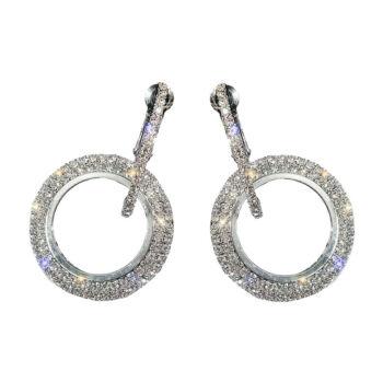 dupla karika fülbevaló, ezüst színű
