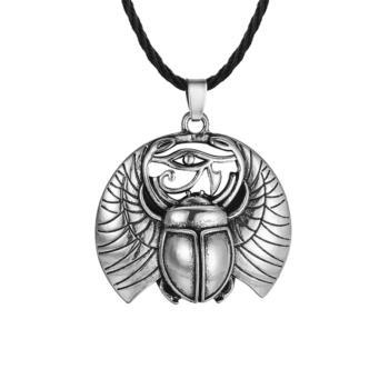 Egyiptomi Szkarabeusz medál műbőr nyaklánccal, 50 cm