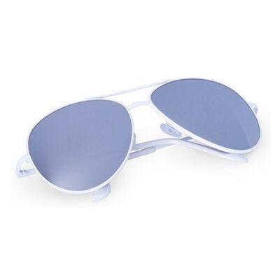 Pilóta fazonú, ezüst tükörlencsés, fehér keretes uniszex napszemüveg, UV 400