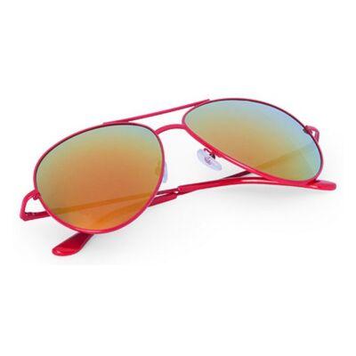 Pilóta fazonú, tükörlencsés, színes keretes uniszex napszemüveg (piros), UV 400