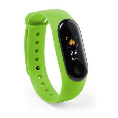Aktivitásmérő óra, pulzusmérővel, lépésszámlálóval, sms-értesítővel, kalóriaszámolóval (zöld)