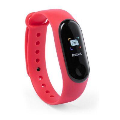 Aktivitásmérő óra, pulzusmérővel, lépésszámlálóval, sms-értesítővel, kalóriaszámolóval, piros