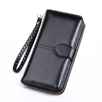Dizájn bőr divat női pénztárca, fekete (19x9,5 cm)