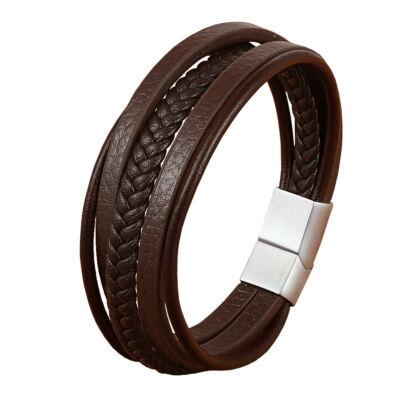 Valódi bőr barna többrétegű férfi karkötő acél színű csattal, 23 cm