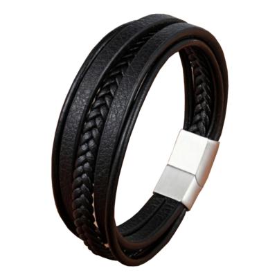 Valódi bőr fekete többrétegű férfi karkötő acél színű csattal, 23 cm