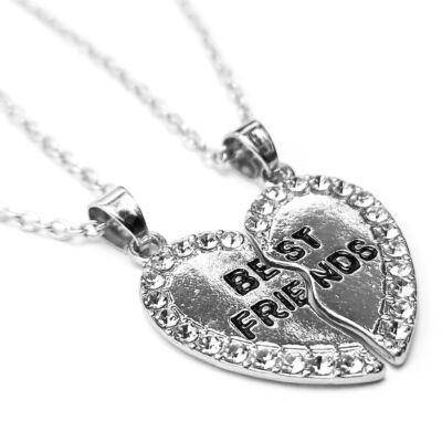 Legjobb Barátok dupla lánc és medál (Best friends) pároknak, kis kövekkel, ezüst színű